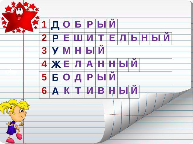 1ДОБРЫЙ 2РЕШИТЕЛЬНЫЙ 3УМНЫЙ 4ЖЕЛАННЫЙ...