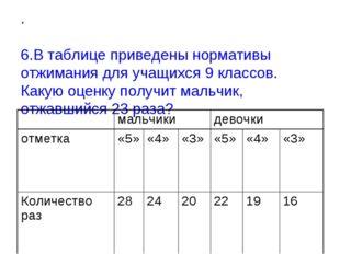 . 6.В таблице приведены нормативы отжимания для учащихся 9 классов. Какую оце