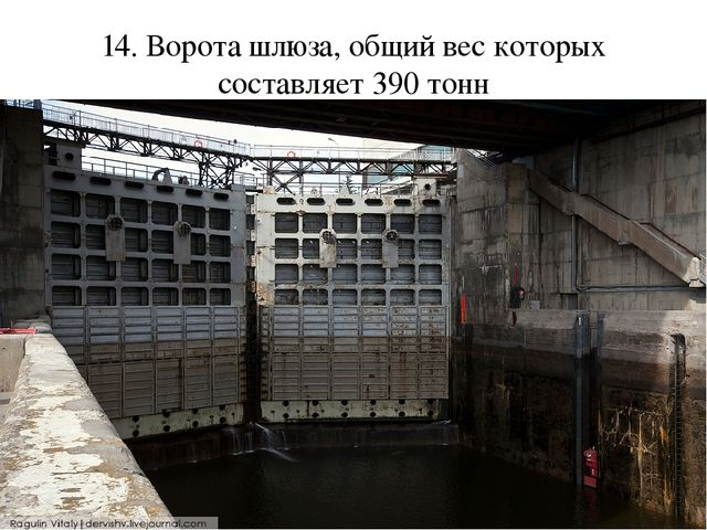 14. Ворота шлюза, общий вес которых составляет 390 тонн
