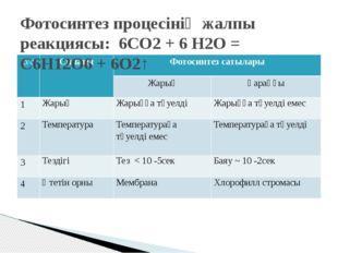 Фотосинтез процесінің жалпы реакциясы: 6СО2+ 6 Н2О = С6Н12О6+ 6О2↑ р/с Сип