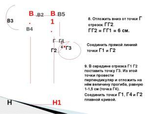 8. Отложить вниз от точки Г отрезок ГГ2. ГГ2 = ГГ1 = 6 см. Соединить прямой л
