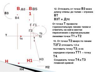 Н4 12. Отложить от точки В3 вниз длину спины до талии – отрезок ВТ В3Т = Дтс