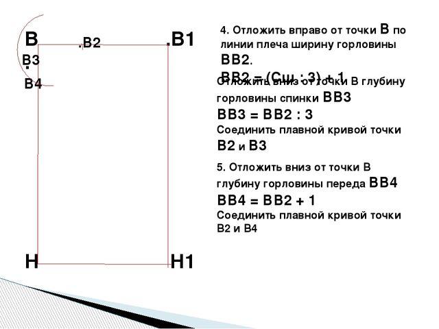 4. Отложить вправо от точки В по линии плеча ширину горловины ВВ2. ВВ2 = (Сш...