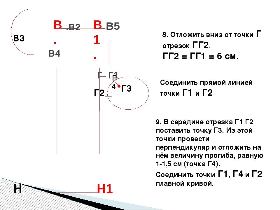 8. Отложить вниз от точки Г отрезок ГГ2. ГГ2 = ГГ1 = 6 см. Соединить прямой л...