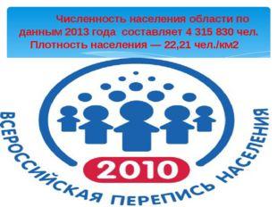 Численность населения области по данным 2013 года составляет 4 315 830 чел.