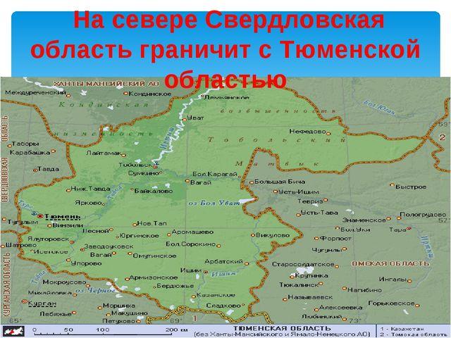 На севере Свердловская область граничит с Тюменской областью