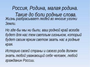 Россия, Родина, малая родина. Такие до боли родные слова. Жизнь разбрасывает