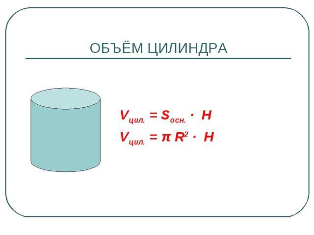 ОБЪЁМ ЦИЛИНДРА Vцил. = Sосн. · H Vцил. = π R2 · H
