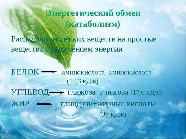 Энергетический обмен (катаболизм) Распад органических веществ на простые веще...
