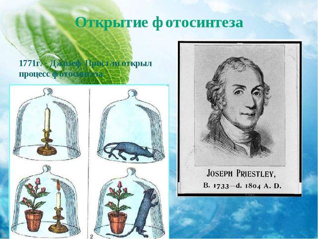 Открытие фотосинтеза 1771г. - Джозеф Пристли открыл процесс фотосинтеза.