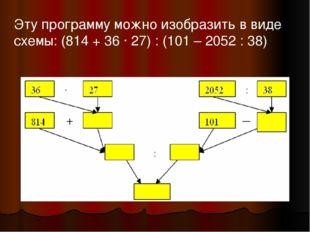 Эту программу можно изобразить в виде схемы: (814 + 36 ∙ 27) : (101 – 2052 :
