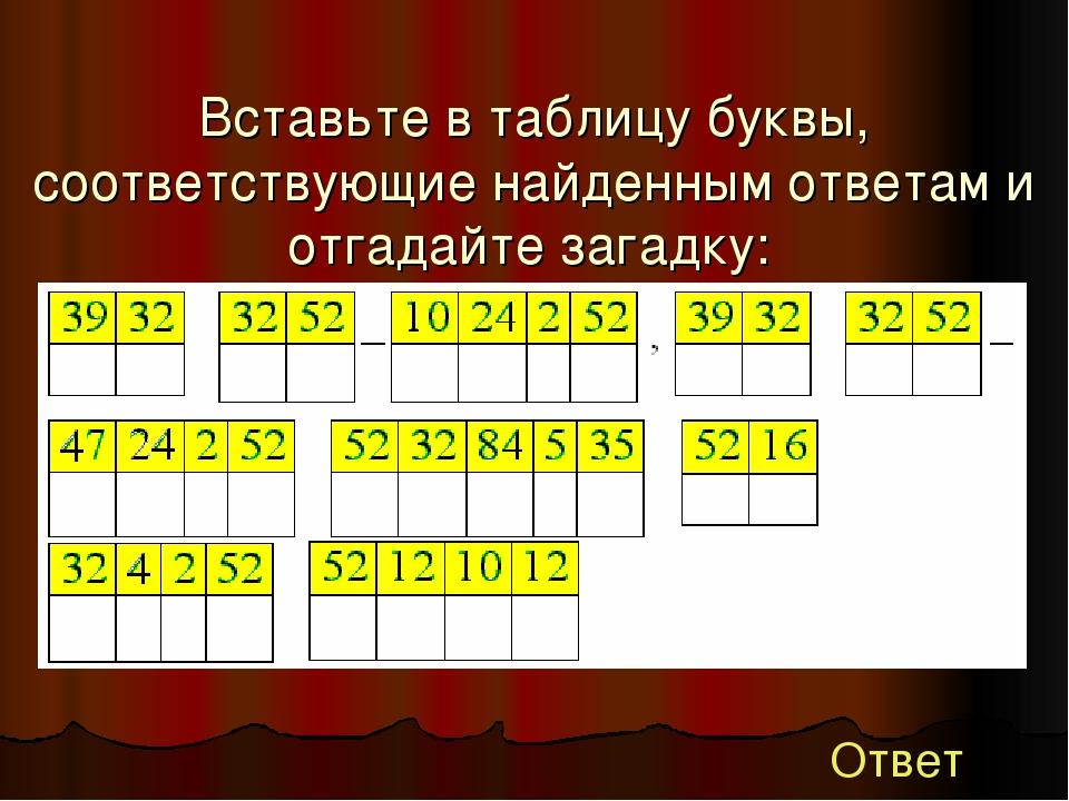 Вставьте в таблицу буквы, соответствующие найденным ответам и отгадайте зага...