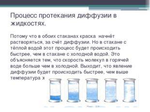 Процесс протекания диффузии в жидкостях. Потому что в обоих стаканах краска н