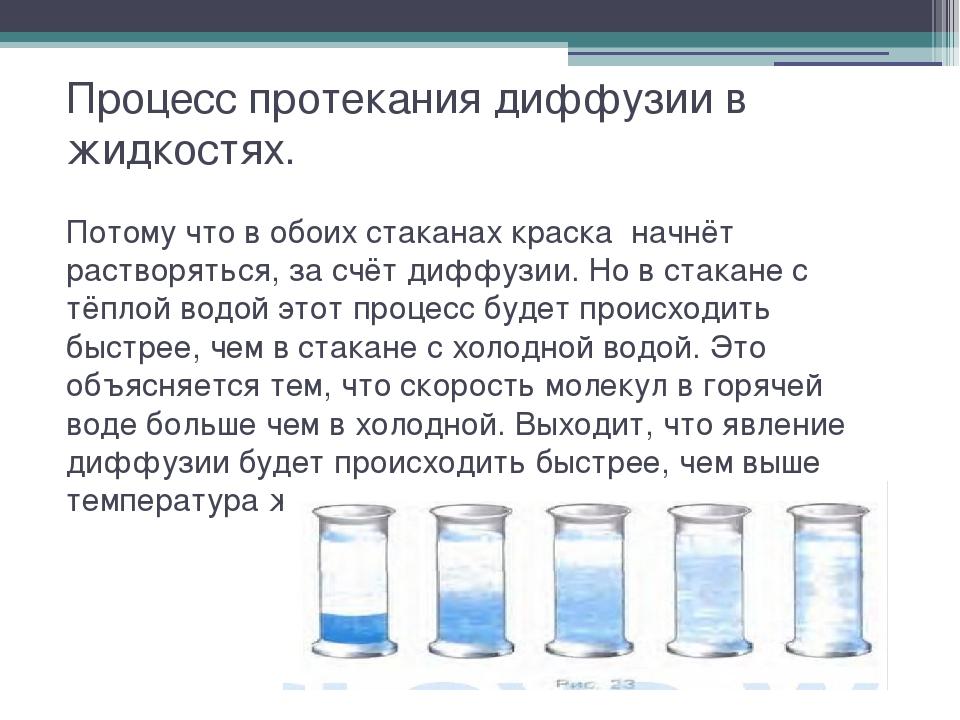 Процесс протекания диффузии в жидкостях. Потому что в обоих стаканах краска н...