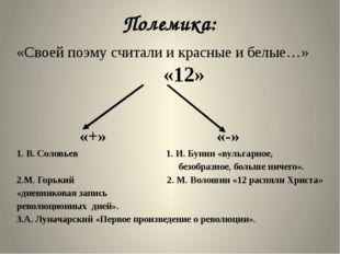 Полемика: «Своей поэму считали и красные и белые…» «12» «+» «-» 1. В. Соловье