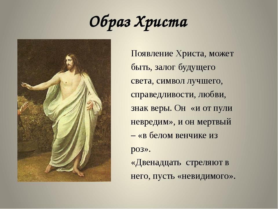Образ Христа Появление Христа, может быть, залог будущего света, символ лучше...