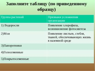Заполните таблицу (по приведенному образцу) Группа растений Признаки усложнен