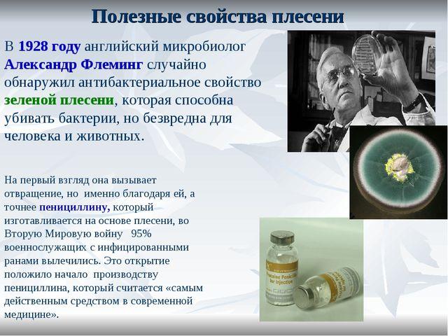 Полезные свойства плесени В 1928 году английский микробиолог Александр Флемин...