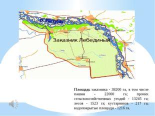 Площадьзаказника - 38200 га, в том числе пашни - 22000 га; прочих сельскохоз