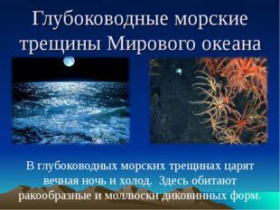 Глубоководные морские трещины Мирового океана В глубоководных морских трещина