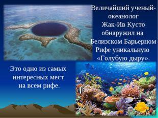 Величайший ученый- океанолог Жак-Ив Кусто обнаружил на Белизском Барьерном Ри