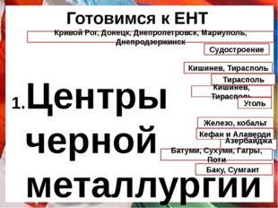 Готовимся к ЕНТ Центры черной металлургии Украины Специализация Южного эконом