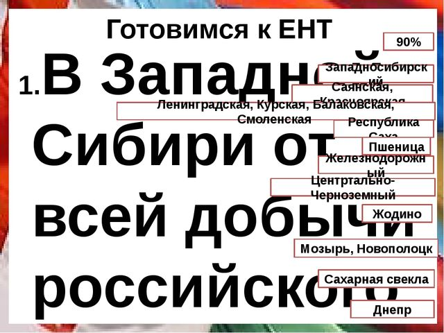 Готовимся к ЕНТ В Западной Сибири от всей добычи российского газа производят...