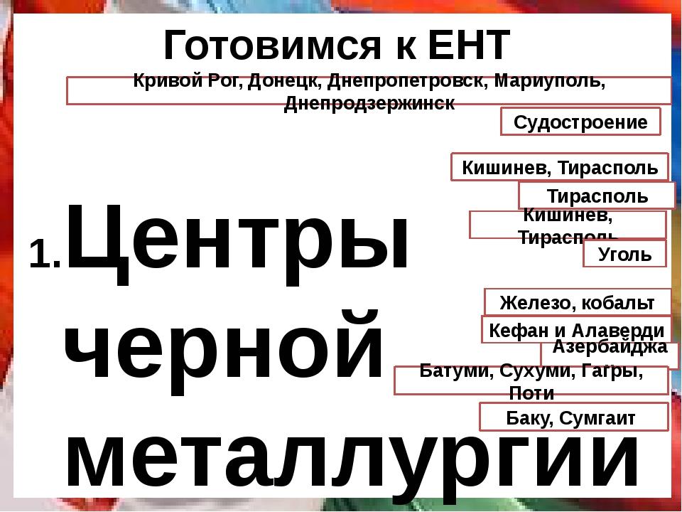 Готовимся к ЕНТ Центры черной металлургии Украины Специализация Южного эконом...
