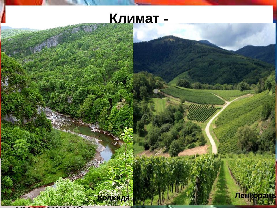 Климат - разнообразный, от умеренного до субтропического. Большой Кавказ - кл...