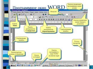 * Программное окно WORD Кнопки управления окном текущего документа Кнопки упр