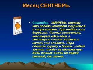 Месяц СЕНТЯБРЬ. Сентябрь- ХМУРЕНЬ, потому что погода начинает хмуриться и ка