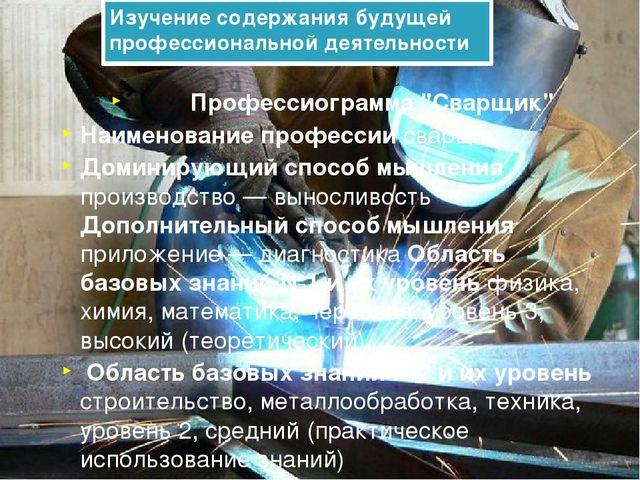 """Изучение содержания будущей профессиональной деятельности Профессиограмма """"Св..."""