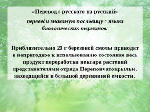 «Перевод с русского на русский» переведи знакомую пословицу с языка биологиче