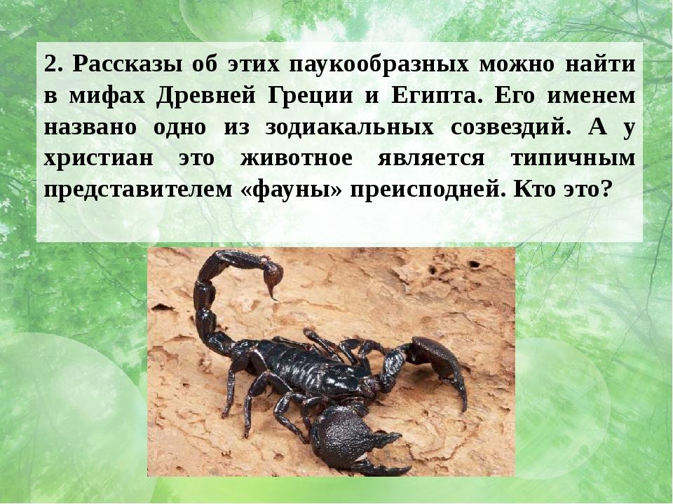 2. Рассказы об этих паукообразных можно найти в мифах Древней Греции и Египта...
