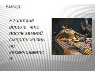 Вывод : Египтяне верили, что после земной смерти жизнь не заканчивается.