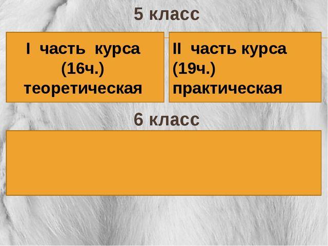 5 класс 6 класс І часть курса (16ч.) теоретическая ІІ часть курса (19ч.) прак...