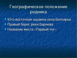 Географическое положение родника Юго-восточная окраина села Белоярки Правый б