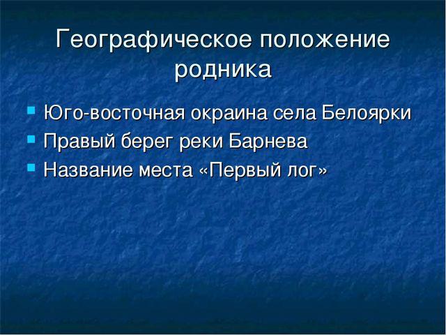 Географическое положение родника Юго-восточная окраина села Белоярки Правый б...