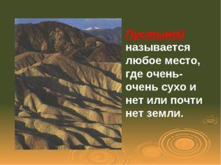 Пустыней называется любое место, где очень-очень сухо и нет или почти нет зем