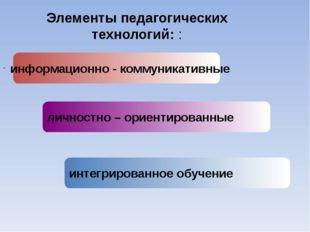 информационно - коммуникативные личностно – ориентированные интегрированное о