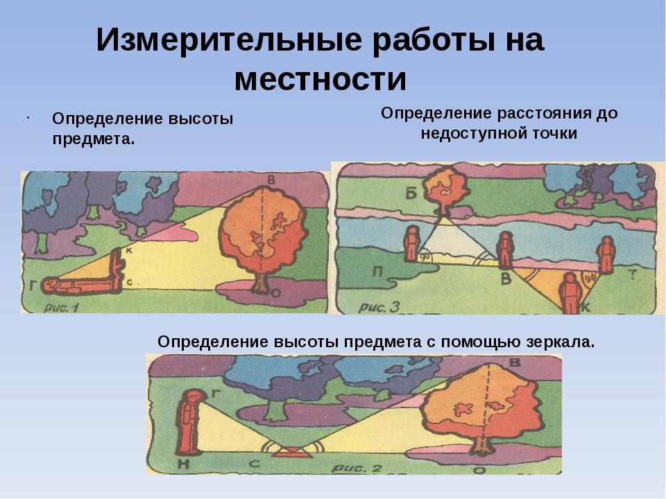 Измерительные работы на местности Определение высоты предмета. Определение ра...