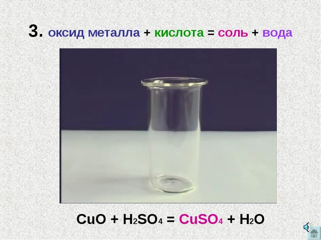3. оксид металла + кислота = соль + вода CuO + H2SO4 = CuSO4 + H2O