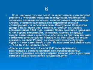 6 Поле, широкое русское поле! На черноземной, чуть пологой равнине с глубоким