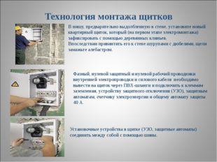 Технология монтажа щитков В нишу, предварительно выдолбленную в стене, устано