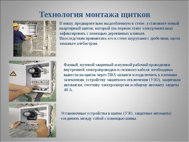 Технология монтажа щитков В нишу, предварительно выдолбленную в стене, устано...