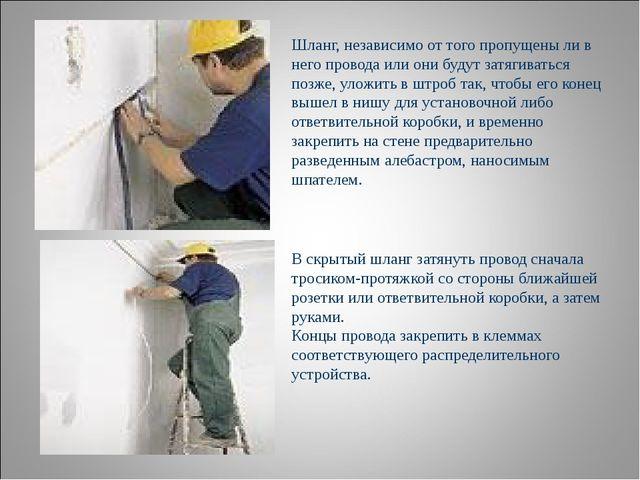 Шланг, независимо от того пропущены ли в него провода или они будут затягиват...