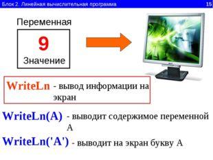 Блок 2. Линейная вычислительная программа 15 Переменная 9 Значение WriteLn -