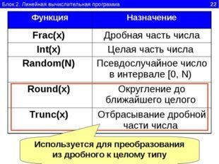 Блок 2. Линейная вычислительная программа 22 Используется для преобразования