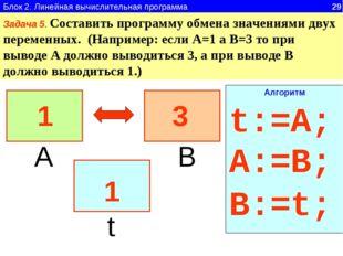 Блок 2. Линейная вычислительная программа 29 Задача 5. Составить программу об