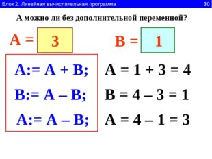 Блок 2. Линейная вычислительная программа 30 A:= A + B; A = 1 + 3 = 4 A = B =